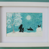Mother Daughter Picture, Framed Christma Print, Mother Child Hare Moon Snow Art