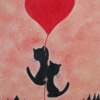 Cat Heart Card, Anniversary Cat Card, Love Cats, Heart Card, Engagement Card Cat