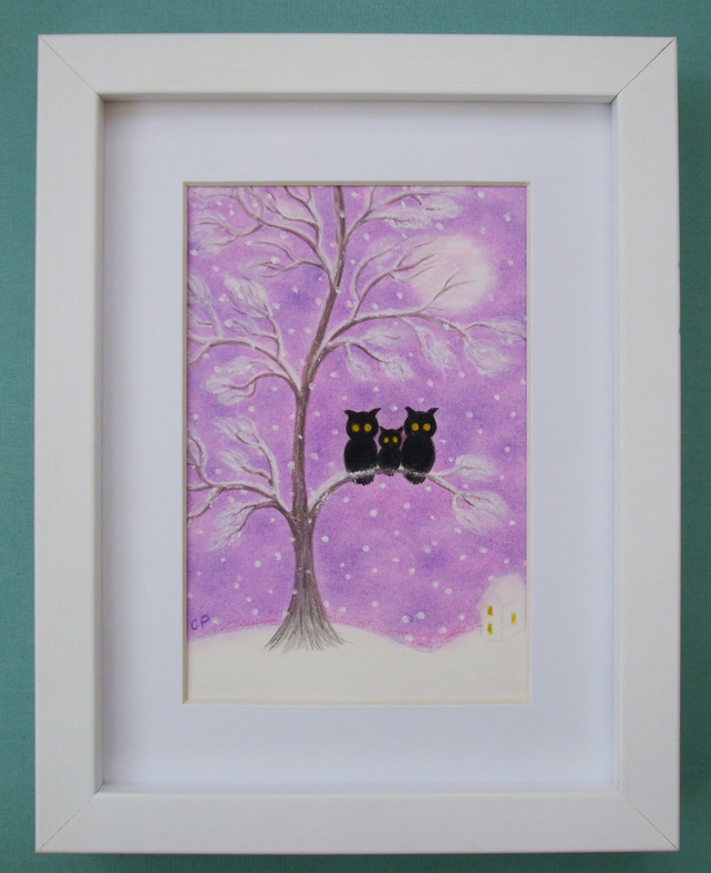 Owls Christmas Picture, Daughter Christmas Gift, Owl Tree Snow Print, Framed Art