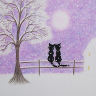 Romantic Christmas Card, Cats Tree moon Snow Card, Love Cat Card, Christmas Art