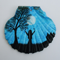 Shell Painting: Moon Tree Girl Painting, Gift, Shell Ornament, Girl Silhouette
