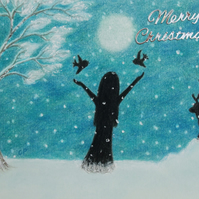 Christmas Card: Snow Card, Christmas Art Card, Reindeer Card, Girl Birds Card
