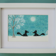 Fox Art, Framed Christmas Picture, Foxes Snow Moon Drawing, Christmas Gift Fox