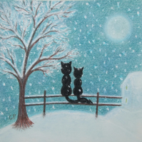 Cat Christmas Card, Children Christmas Card, Cat Snow Card, Black Cats Tree Moon