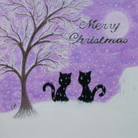 Cat Christmas Card: Snow Cats Card, Christmas Art Card, Cats Snow Card, Children