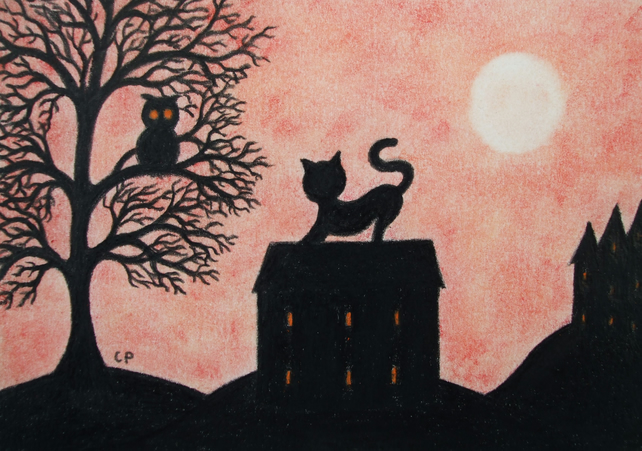 Cat Halloween Card, Cat House Tree Owl Card, Halloween Silhouette Card Black Cat