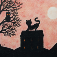 Cat Card, Kids Art Card, Black Cat House Card, Cat Tree Silhouette Card,