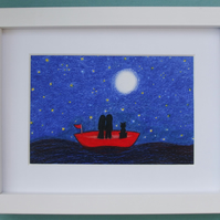 Romantic Boat Print, Unique Gift, Framed Love Art, Couple Cat Moon Stars