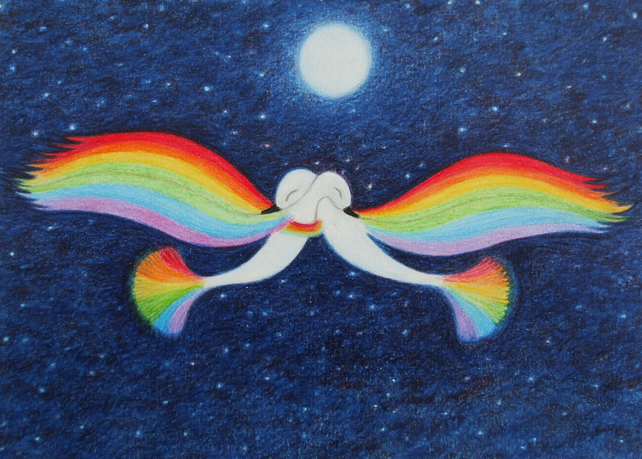 Bird Card: Rainbow Bird Card, Spiritual Card, Rainbow Art Card, Romantic Birds