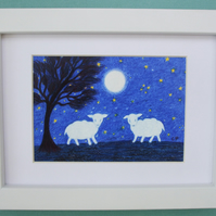 Sheep Picture Framed: Sheep Art, Sheep Moon Stars, Art Gift, Lamb Picture Kids