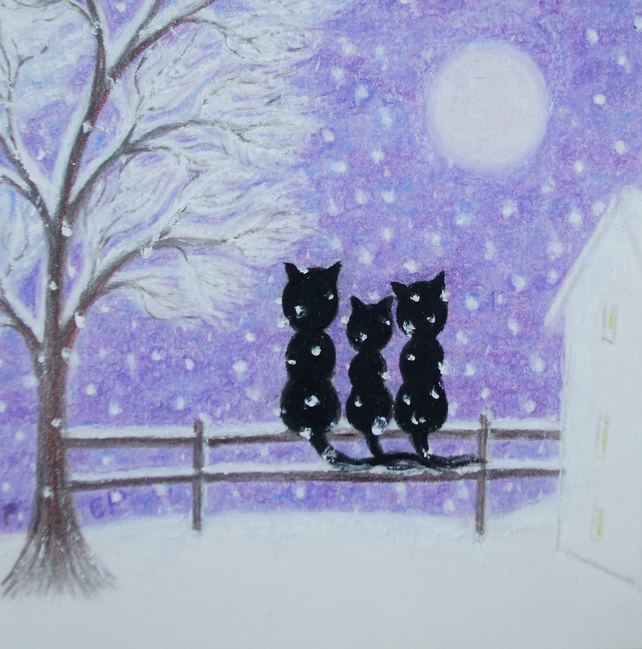 Cat Christmas Card, Black Cats, Daughter Christmas Card, Snow Cat Card, Purple