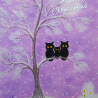 Owl Christmas Card, Daughter Christmas Card, Owl Tree Snow Christmas Card Purple