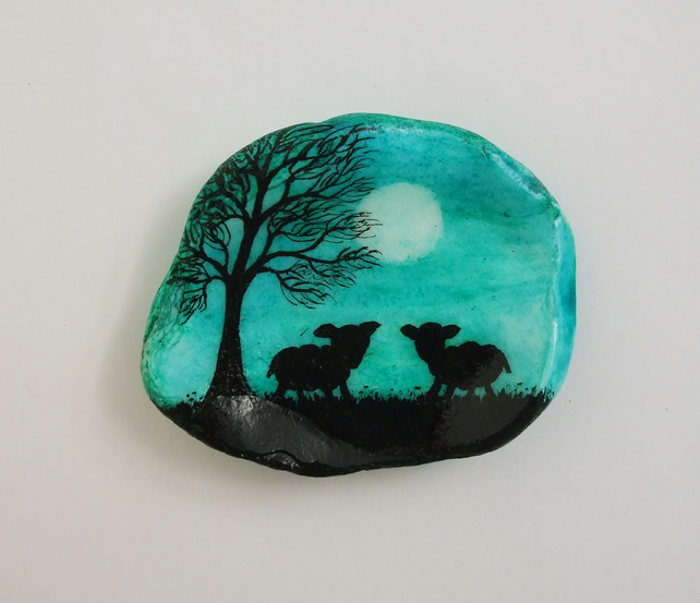 Sheep Painting on Shell: Sheep Art, Sheep Silhouette, Gift, Painted Shell, Lamb