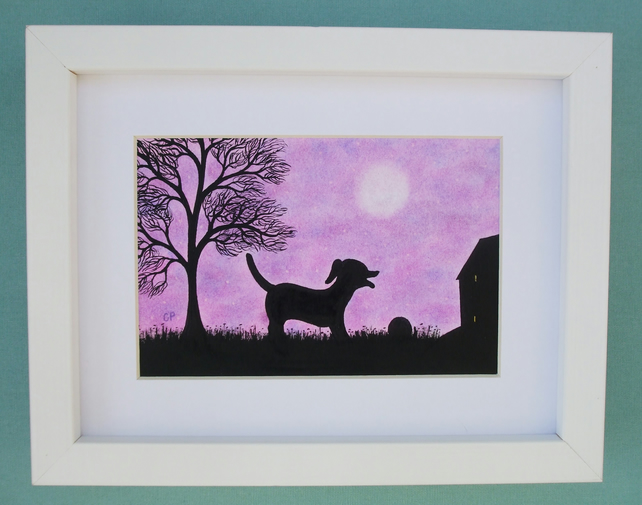 Dog Picture Framed: Dog Art, Dog Gift, Black Dog Picture, Framed Art Purple, Dog