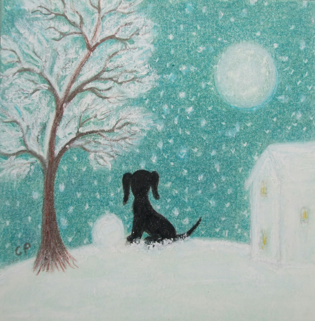Dog Christmas Card, Kids Christmas Card, Dog Snow Card, Puppy Moon Tree Card Art