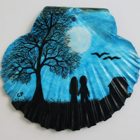 Romantic Painting on Shell: Love Gift, Couple Tree Moon Painting, Love Shell Art