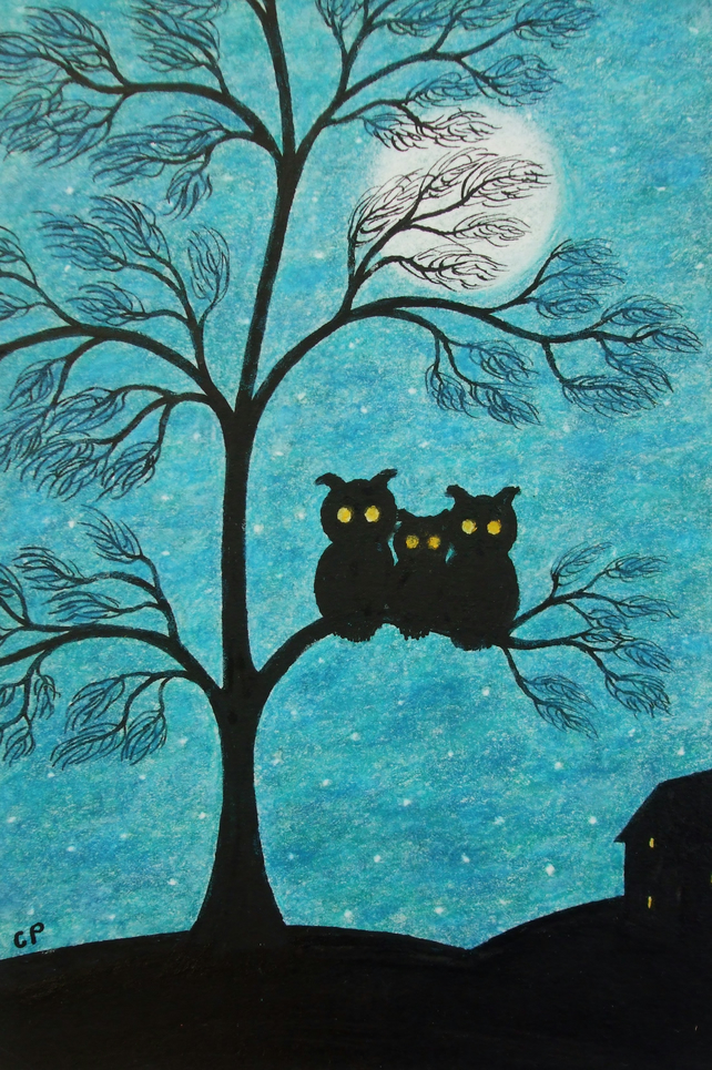Owl Mothers Day Card, Tree Moon Owl Card, Moon Owl Family Card, Mothers Day Art