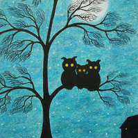 Owl Card, Tree Moon Card, Fathers Day Card, Kids Card, Three Owls Art Card, Baby