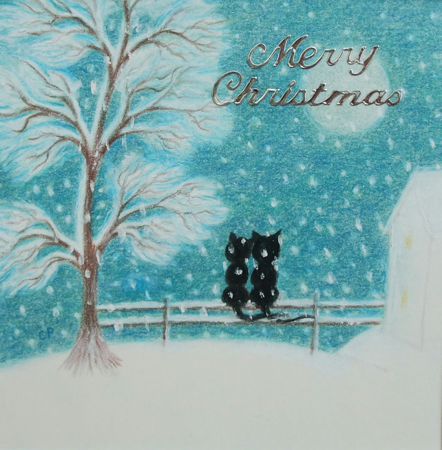 Cat Christmas Card: Romantic Christmas Card, Black Cat Christmas Card, Snow Cat
