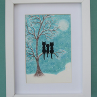 Cat Picture, Framed Snow Tree Art Print, Black Cats in Tree, Cat Family Kids Art