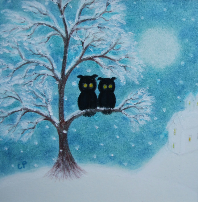 Owl Christmas Card, Children Christmas Card, Owls Tree Snow Card, Christmas Art