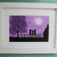 Cat Picture Framed: Cat Print, Black Cats Purple Picture, Cat Gift, Cat Tree Art