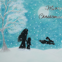 Christmas Card: Mother Daughter Christmas Card, Snow Christmas Card, Child Card