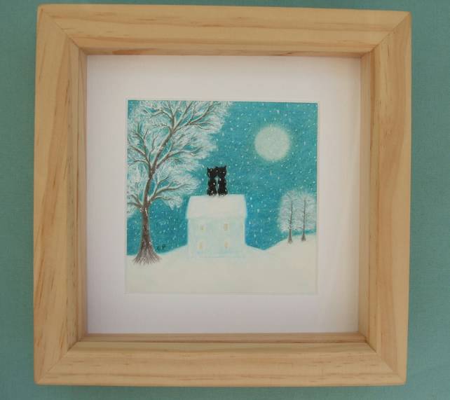 Romantic Christmas Art, Cat Picture, Framed Cats Moon House Snow Print, Love Art
