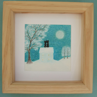 Cat Picture Framed: Cat House, Romantic, Cat Snow Picture, Wedding Gift, Cat Art