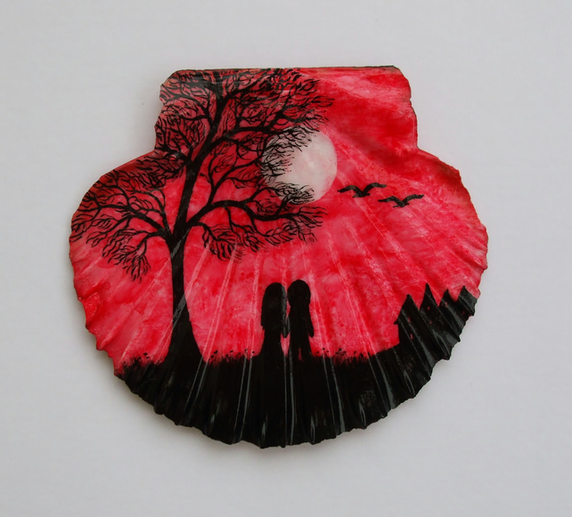 Love Gift, Painted Shell, Romantic Couple Tree Moon Painting, Engagement Gift