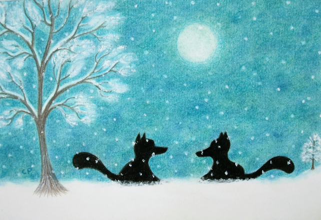 Fox Card: Snow Fox Card, Fox Art Card, Foxes Moon Card, Snow Card, Fox Tree Card