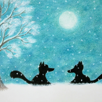 Fox Christmas Card, Snow Fox Art Card, Christmas Silhouette Card, Moon Fox Tree