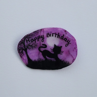 Cat Birthday Card: Hand Painted Birthday Card, Cat Art, Birthday Shell Card, Art
