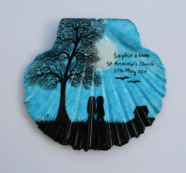 Personalised Wedding Gift, Unique Art Gift, Painted Shell, Couple Tree Painting