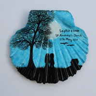 Wedding Gift, Personalised Couple Tree Painting on Shell, Romantic Wedding, Art