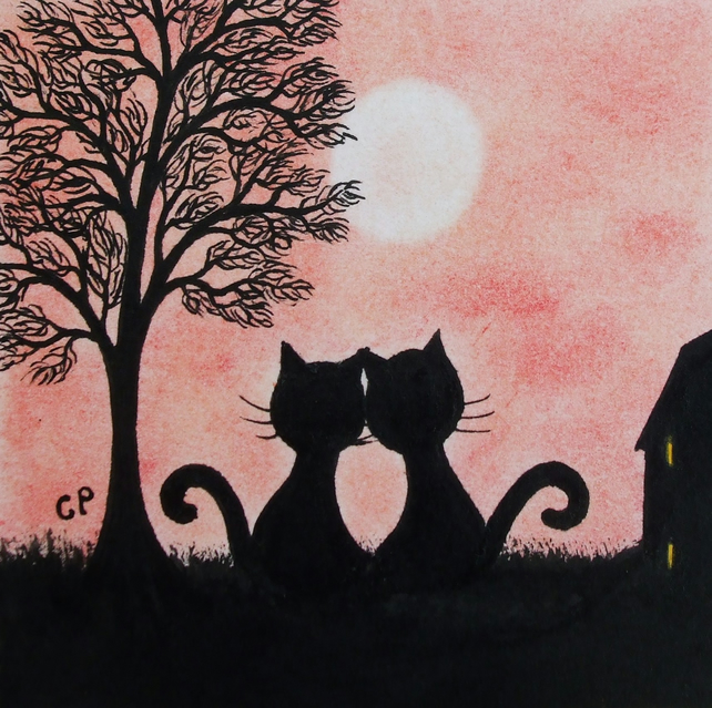 Black Cat Card, Romantic Anniversary Card, Love Cats Tree Card, Engagement Card