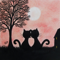 Cat Card: Love Cat Card, Romantic Cat Card, Cat Tree Card, Anniversary Black Cat