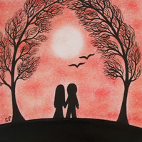 Wedding Card: Romantic Couple Card, Love Art Card, Wedding Couple Tree Card