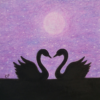 Valentines Swan Card, Purple Moon Stars Card, Romantic Swans Silhouette Art Card
