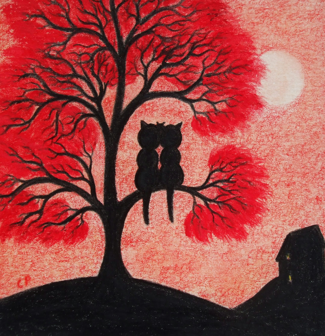 Cat Card: Love Cat Card, Cat Tree Card, Anniversary Card, Cat Art Card, Wedding