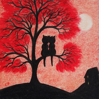 Cat Tree Card, Wedding Anniversary Card, Black Cat Art, Halloween Engagement Red