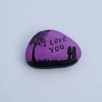 Painted Rock, Valentines Love Couple Painting, Stone Art, Valentine Gift Pebble