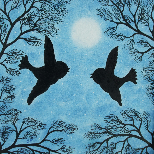 Bird Card: Engagement Card, Bird Moon Card, Love Birds, Romantic Art Card Moon