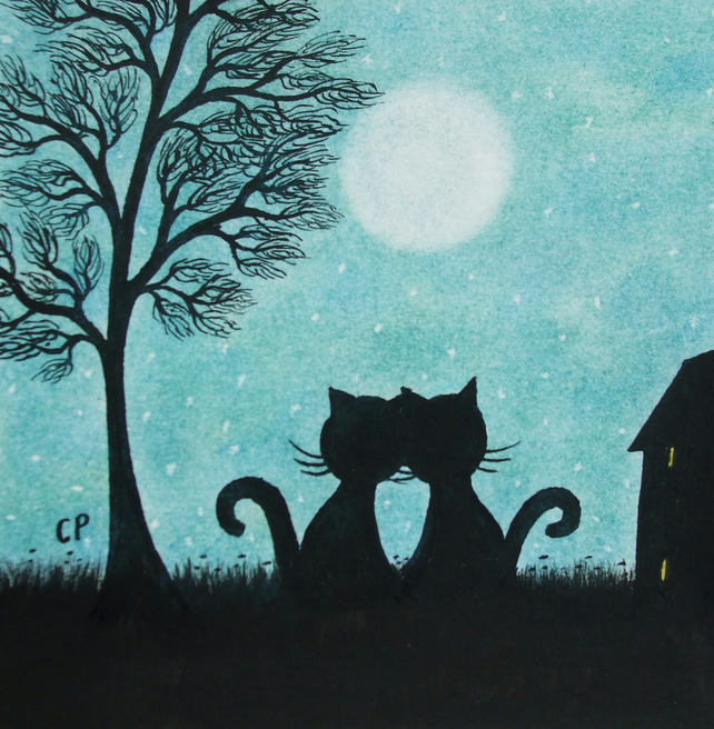Black Cat Card, Romantic Moon Card, Wedding Cat, Love Card, Cat Anniversary Card