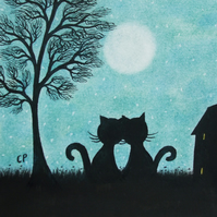 Cat Card, Romantic Cat Card, Love Cat Card, Anniversary Black Cat, Art Card Cats