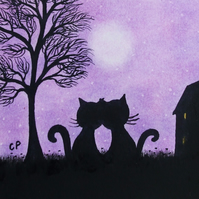 Cat Card, Purple Love Cats Card, Engagement, Black Cats Tree Moon Card, Wedding