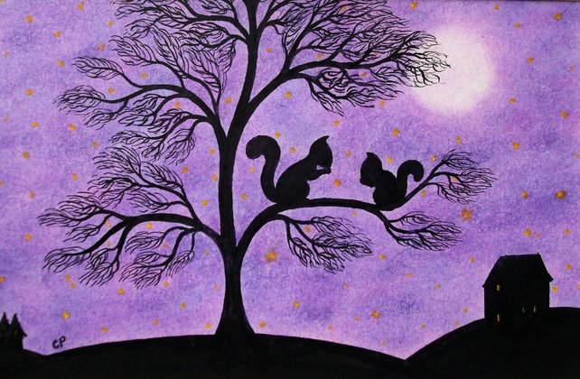 Squirrel Card, Tree Card, Squirrel Art Card, Children Card, Purple Squirrel Card