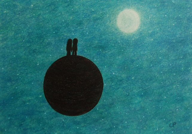 Space Card: Moon Stars Card, Romantic Card, Couple Moon Card, Art Card Planet