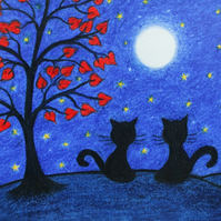 Cat Card, Wedding Anniversary Art Card, Black Cats Moon Stars Card, Romantic