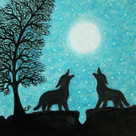 Wolf Card, Wolves Moon Card, Wolf Art Card, Two Wolves Moon Stars Card, Wolf Art
